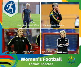 OLYMPIC FACTS: Only a third of the Women's Soccer Head Coaches at Rio are Female; meet all 4 of them here…